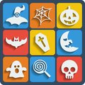 Set of halloween web and mobile icons vector in flat design Royalty Free Stock Photo