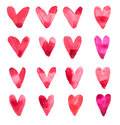 Set of hand draw watercolor aquarelle art paint love red heart with drop splatter stain Royalty Free Stock Photos