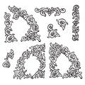 Set of Hand drawing ornamental decorative elements. Carving style