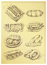 Set of hand drawing sausage and sandwiches Stock Photos