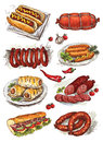 Set of hand drawing sausage on white background Stock Image