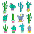Set hand drawn abstract cactuses.