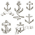 Set of hand drawn anchors and ribbons sketch style vector illustration Royalty Free Stock Photos