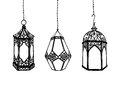 Set of hand drawn arabic lanterns Royalty Free Stock Photo