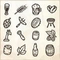 Set of hand drawn beer icons.
