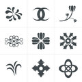 Set hand drawn black silhouettes flowers Icons Royalty Free Stock Photo