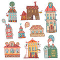 Set of hand drawn buildings in vintage style outline vector illustration Royalty Free Stock Photo