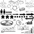 Set of hand drawn business finance elements vector illustration on white background this is file eps format Stock Image