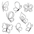 Set of hand drawn butterflies vector Stock Images