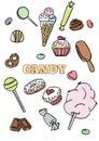 Set hand drawn candies, donut, lollipop, candy, desserts
