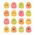 Set of hand drawn cartoon smiley monsters. Collection of different cute and funny fluffy monsters characters