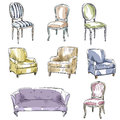 Set Of Hand Drawn Chairs And S...