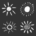 Set of hand drawn chalk sun icons.