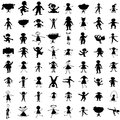 Set of hand drawn children silhouettes Stock Photo