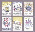 Set of hand drawn Christmas greeting cards. Happy New Year. Merry Christmas. Holly Jolly. Happy Holidays. Warm wishes. Make a wis Royalty Free Stock Photo