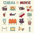 Set of hand drawn cinema icons