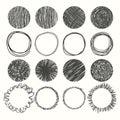 Set of hand drawn circles. Vector design elements