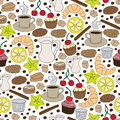 Set of hand drawn coffee and cookie elements. Seamless pattern