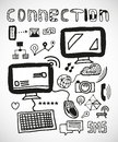 Set of hand drawn connection doodles vector Royalty Free Stock Image