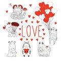 Set of cute Valentines day monsters Royalty Free Stock Photo