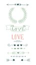 Set of hand drawn design elements for valentine s day Stock Image