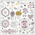 Set of hand drawn design elements for wedding decoration. Decorative frames, flowers, heart, birds, arrows. Royalty Free Stock Photo