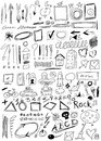 Set hand drawn doodle arrow shapes background and texture Stock Images