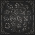 Set of hand drawn doodle arrows on blackboard vector illustration eps Royalty Free Stock Photo