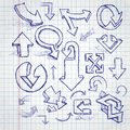 Set of hand drawn doodle arrows vector illustration eps Stock Photography