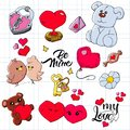 Set of hand drawn doodle love elements Valentine`s Day card, sticker, stamp design. Vector illustration with heart, love, birds,