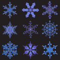Set hand-drawn doodles color snowflake. Zentangle mandala style.