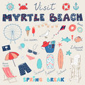 Set of hand drawn doodles of Myrtle Beach, South Carolina, USA Royalty Free Stock Photo