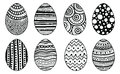 Set of hand drawn easter eggs. Decorative elements for card, coloring book. Isolated.