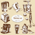 Set of hand drawn electronic objects for kitchen Royalty Free Stock Images