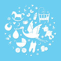Set of hand drawn elements. Baby boy stuff. Collection of vector cute icons