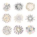 Set of hand drawn fireworks in pink, golden and black colors Royalty Free Stock Photo
