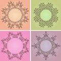 Set of hand-drawn floral frames with a place for text Royalty Free Stock Photo