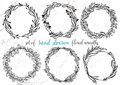 Set of hand drawn floral wreaths