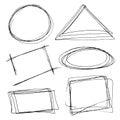 Set of hand drawn frames.Vector illustration