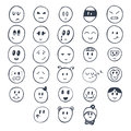 Set of hand drawn funny faces with different expressions. Smiley