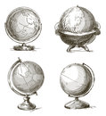 Set of hand drawn globes. Vector illustration. Royalty Free Stock Photo