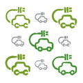 Set of hand drawn green eco car icons collection illustrated brush drawing electric powered cars painted ecology Royalty Free Stock Photography