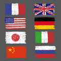 Set of hand drawn grunge world flags Royalty Free Stock Photo