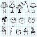 Set of hand drawn home items doodle icons on