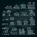 Set of hand drawn houses.Different building collection. Royalty Free Stock Photo