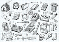 Set of hand drawn icons Royalty Free Stock Photo