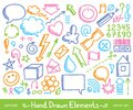 Set of hand drawn icons on white background Royalty Free Stock Photo