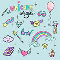 Set of hand drawn illustrations of a magic wand, diamond, rainbow and other magic attributes. Lettering Unicorn, Magic