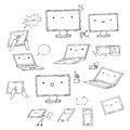 Set of hand drawn kawaii gadgets doodle Stock Photography