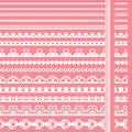 Set of hand drawn lace paper punch borders Royalty Free Stock Photo